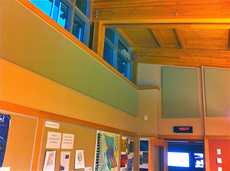 "Brentwood College Art Building - 2"" Acousti-trac stretch fabric acoustic panels applied to the upper wall"