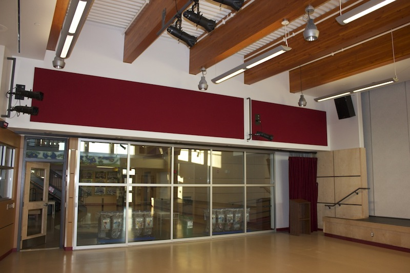 North Saanich Middle School - Upper wall Acousti-trac panel
